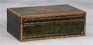 021: English inlaid leather and gilt-tooled writing box