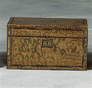 023: Georgian brass-bound burl ash tea caddy last quar