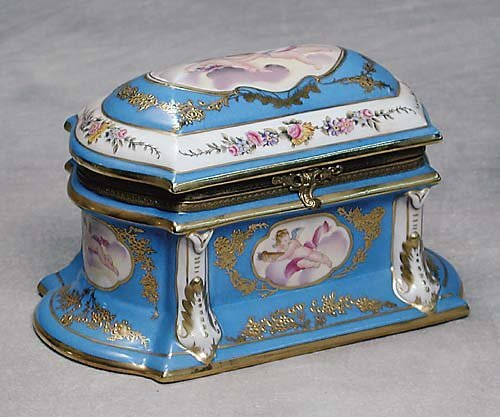 026: Sevres style porcelain trinket box  20th century