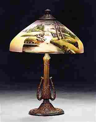 American lamp with painted shade early 20th centu