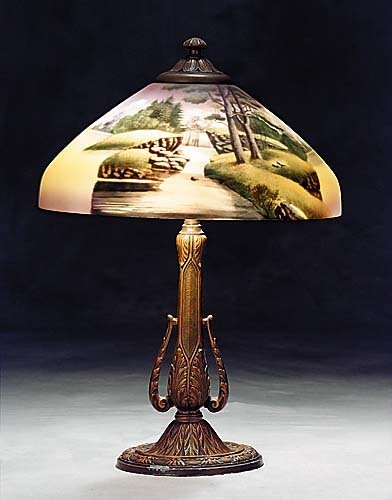 435: American lamp with painted shade  early 20th centu