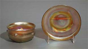 Tiffany favrile glass dish and saucer late 19th c