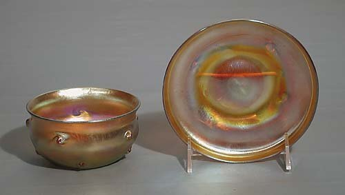 436: Tiffany favrile glass dish and saucer  late 19th c