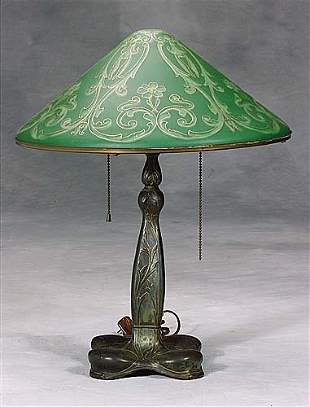 Pairpoint lamp with painted shade circa 1915