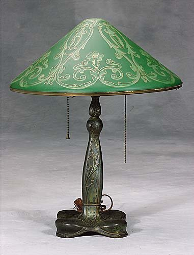 437: Pairpoint lamp with painted shade  circa 1915