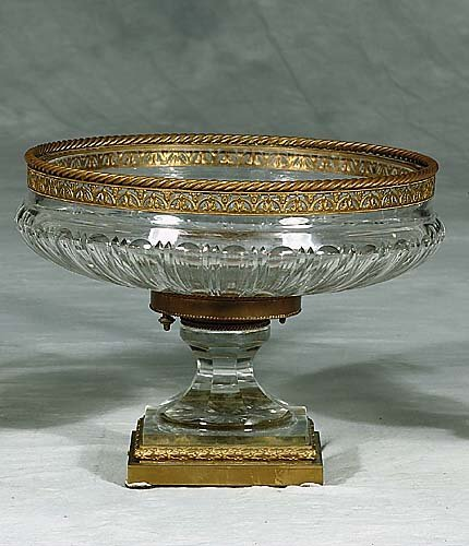 443: French bronze-mounted crystal centerpiece  circa 1