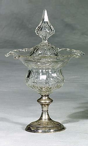 444: Pair Irish cut-crystal covered compotes  circa 188