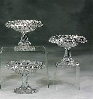 Three Irish cut-crystal compotes circa 1890
