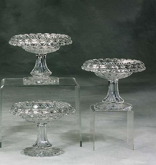 446: Three Irish cut-crystal compotes  circa 1890