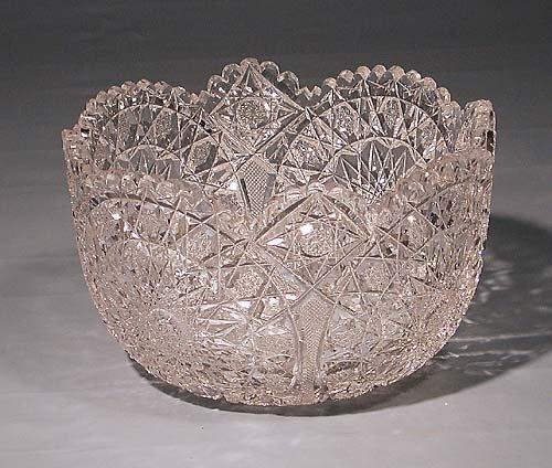 449: Fancy American cut-crystal center bowl  circa 1900