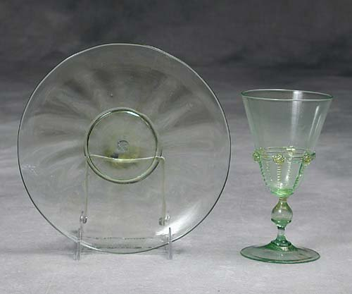 453: Murano glass stems and plates  19th/20th century