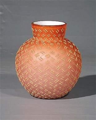 Overlaid peach blown art glass vase circa 1890