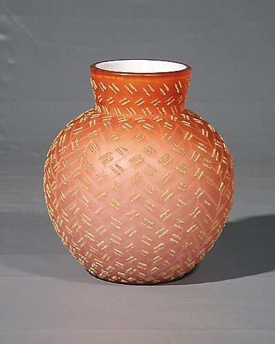 455: Overlaid peach blown art glass vase  circa 1890