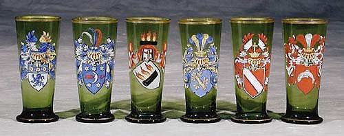 456: German glasses, set of six  early 20th century