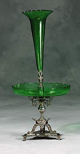 English silverplate and green crystal epergne cir