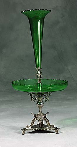 457: English silverplate and green crystal epergne  cir