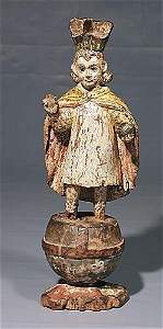 782: Polychrome carved wooden Infant of Prague  14th ce