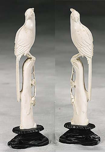 1: Pair Chinese carved ivory birds