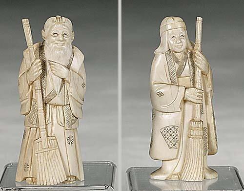 2: Pair Japanese ivory figures