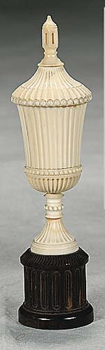 3: Continental carved ivory urn