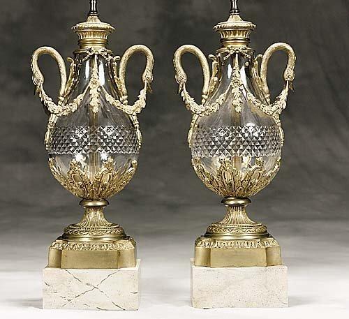 5: Pair ormolu mounted glass lamps
