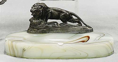 9: Malachite glass and metal ashtray