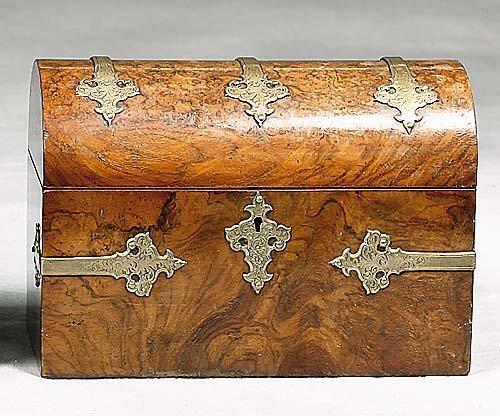 13: English burl walnut domed writing box