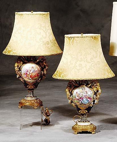 15: Pair Sevres type porcelain vases/lamps