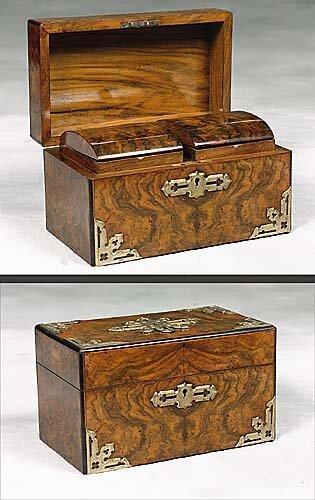 18: Continental French burl walnut tea caddy