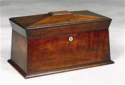 56: Regency rosewood double tea caddy