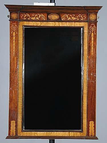 229: Pair English inlaid rosewood mirrors