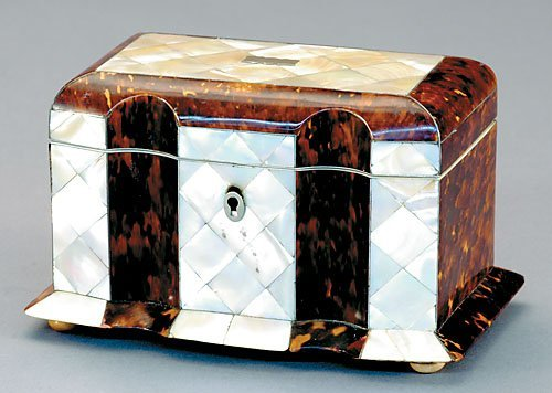 1: Regency shell and mother-of-pearl tea caddy