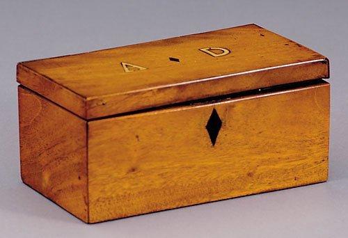 8: English inlaid mahogany double tea caddy