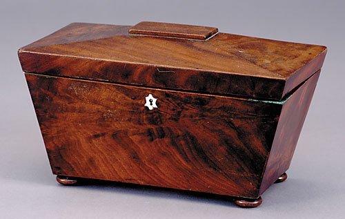 9: English mahogany double tea caddy