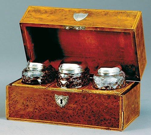 11: George III burl walnut and silver-mounted tea caddy