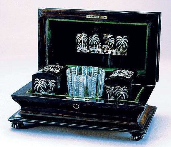 12: William IV inlaid macassar ebony tea caddy