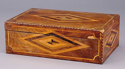 13: Inlaid walnut writing box