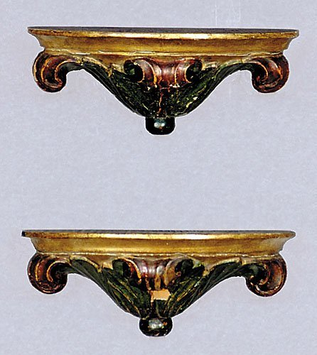 15: Pair carved giltwood and painted wall brackets