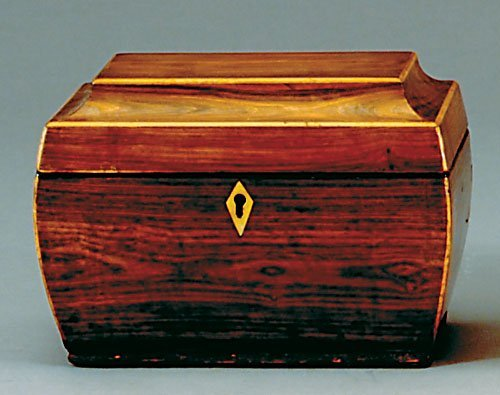 21: Regency inlaid rosewood tea caddy