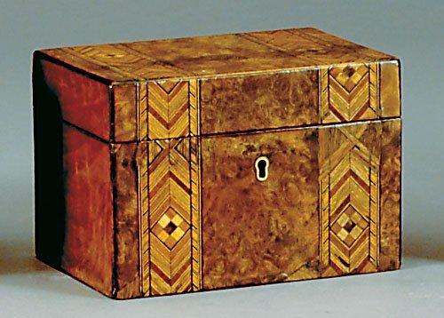 22: English tunbridge-inlaid burl walnut box