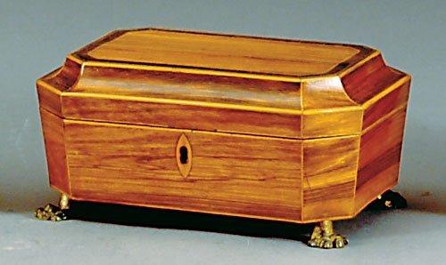 23: George III satinwood inlaid sewing box