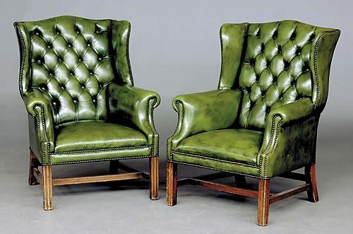 Marvelous 193 Pair Georgian Style Green Leather Wingback Chairs Camellatalisay Diy Chair Ideas Camellatalisaycom