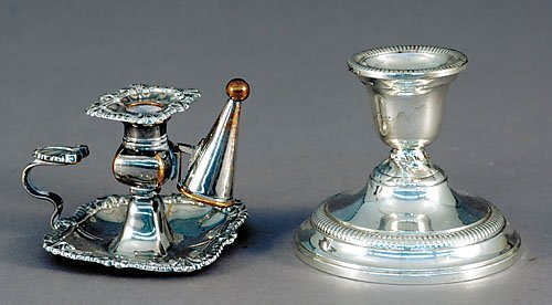 505: Silverplate taperstick with snuffer and sterling c