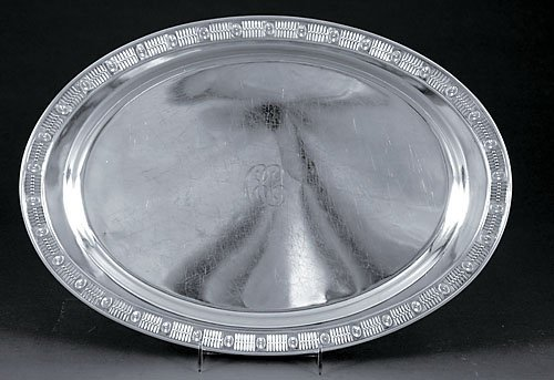 510: American sterling serving tray by Theodore Starr