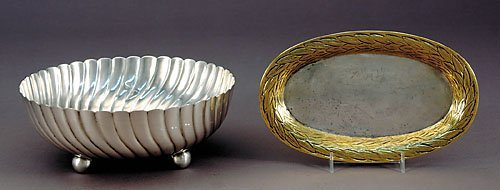 512: Mexican sterling bowl and tray with vermeil border