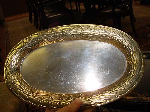 512: Mexican sterling bowl and tray with vermeil border - 2