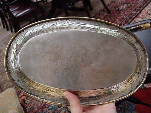 512: Mexican sterling bowl and tray with vermeil border - 7