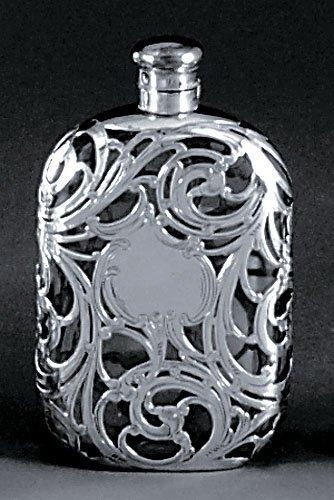 517: Art Nouveau silver overlay hip flask