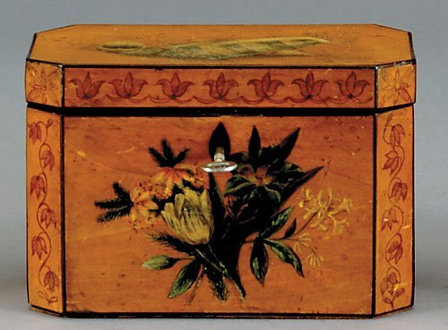 2: Regency painted tea caddy