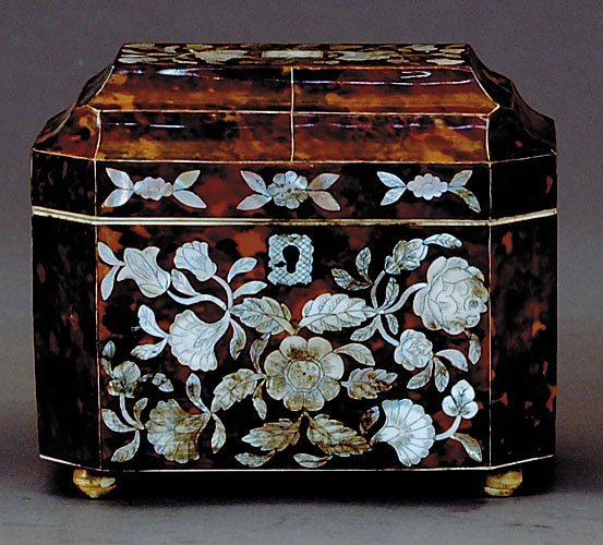5: Regency style inlaid tea caddy